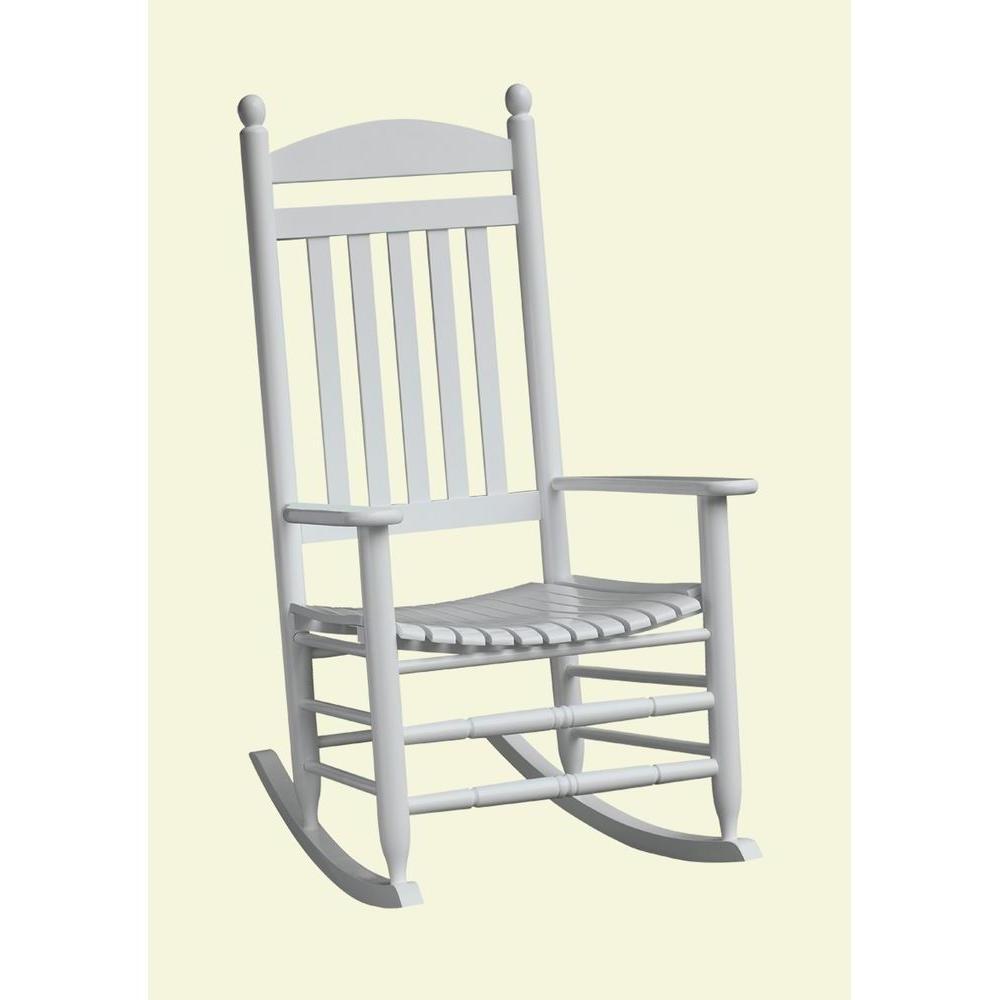 Fashionable Bradley White Slat Patio Rocking Chair 200sw Rta – The Home Depot Regarding Patio Rocking Chairs (View 4 of 20)