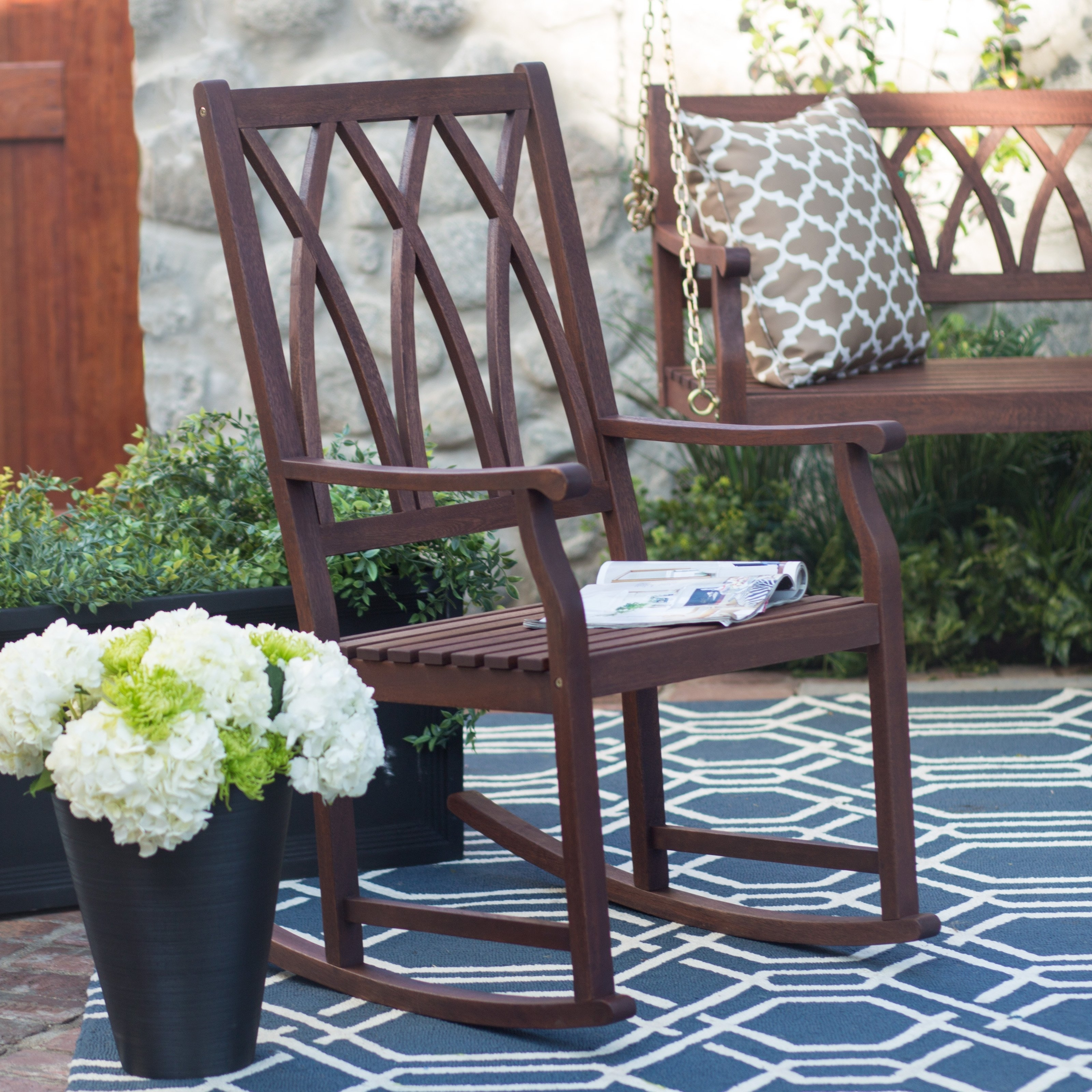 Fashionable Brown Patio Rocking Chairs Within Patio & Garden : Outdoor Rocking Chairs On Hayneedle Top Porch (View 18 of 20)