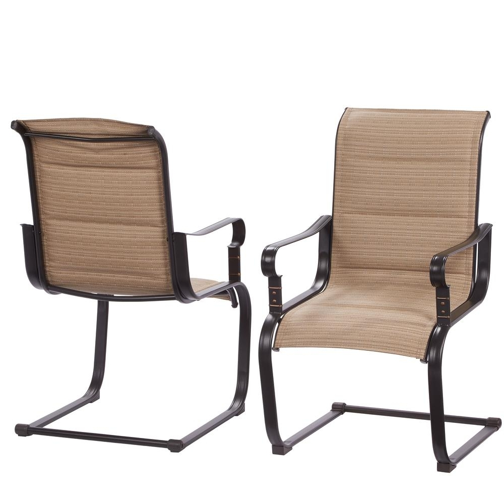 Fashionable Hampton Bay Belleville Rocking Padded Sling Outdoor Dining Chairs (2 For Patio Sling Rocking Chairs (View 6 of 20)