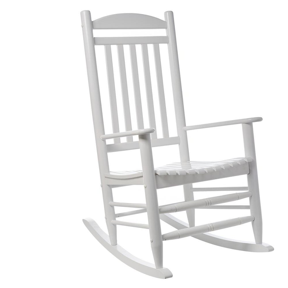 Fashionable Hampton Bay White Wood Outdoor Rocking Chair 1. (View 2 of 20)