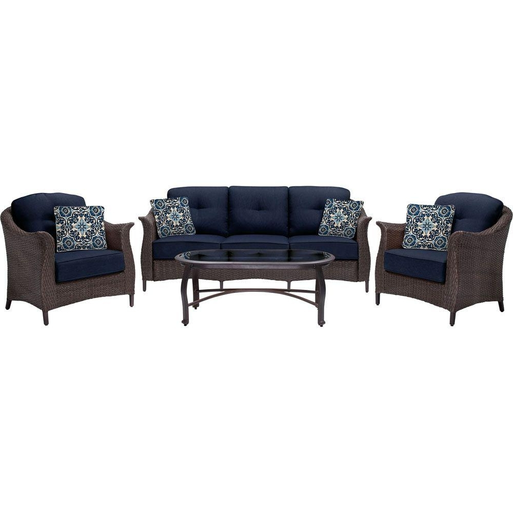 Fashionable Hanover Gramercy 4 Piece All Weather Wicker Patio Seating Set With With Regard To Wicker 4Pc Patio Conversation Sets With Navy Cushions (View 3 of 20)