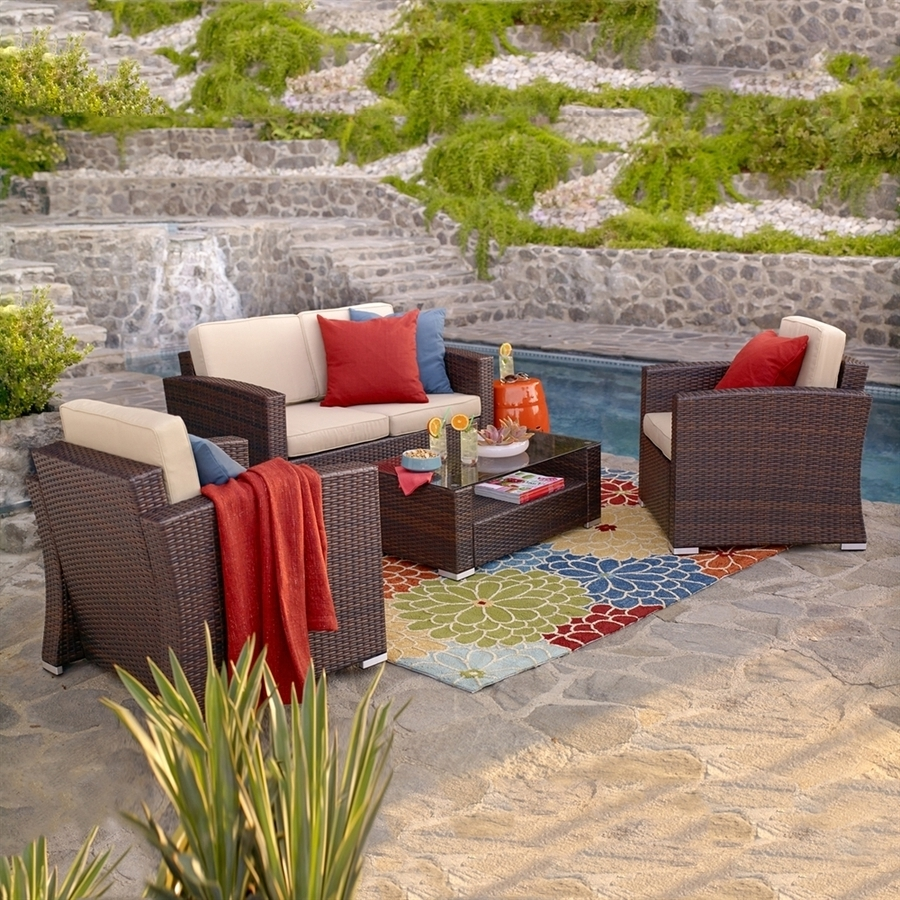 Fashionable Patio Conversation Sets With Covers In Shop Thy Hom Nicollo 4 Piece Wicker Frame Patio Conversation Set (View 5 of 20)