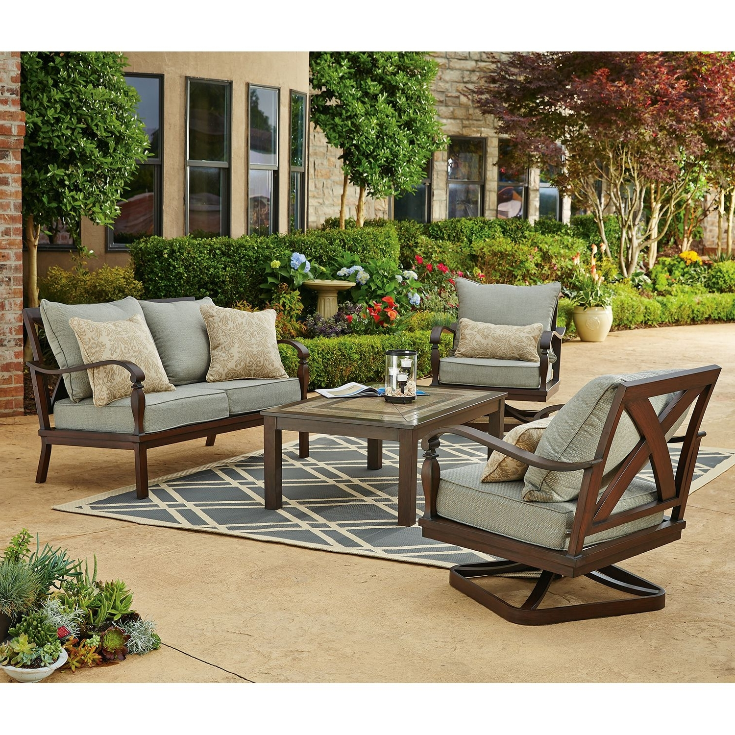 Fashionable Patio Conversation Sets Without Cushions With Furniture: Cozy Wrought Iron Patio Chairs With Cushions And Gray (View 12 of 20)