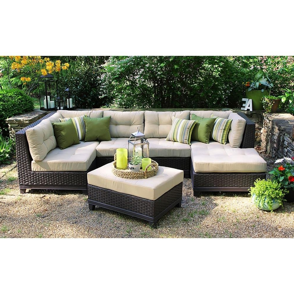 Fashionable Patio Furniture Conversation Sets At Home Depot For Ae Outdoor Hillborough 4 Piece All Weather Wicker Patio Sectional (View 11 of 20)