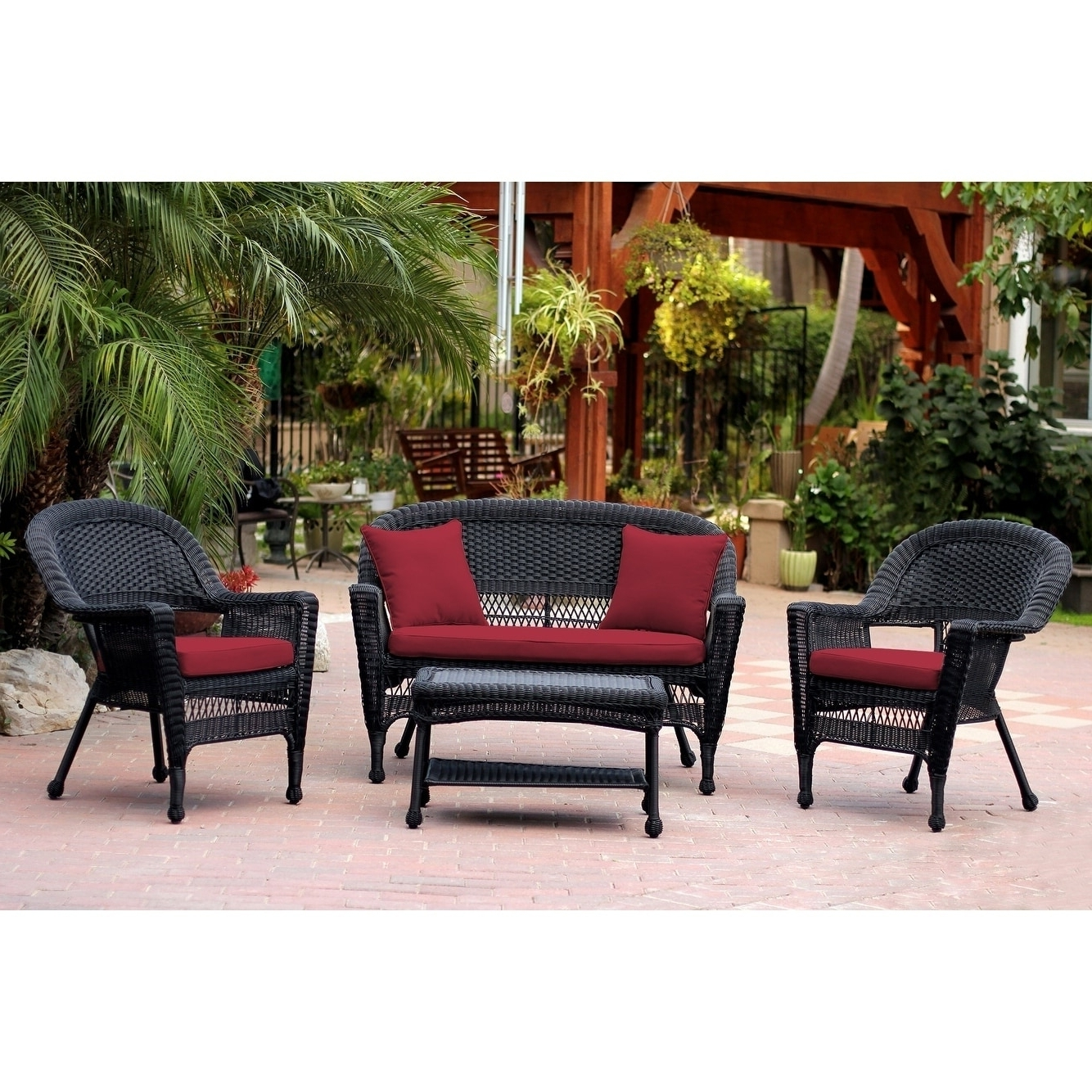 Fashionable Shop Black Wicker 4 Piece Patio Conversation Set – Free Shipping With Patio Conversation Sets Under (View 7 of 20)