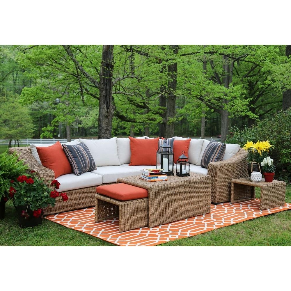 Fashionable Sunbrella Patio Conversation Sets With Ae Outdoor Arizona 8 Piece All Weather Wicker Patio Sectional With (View 3 of 20)