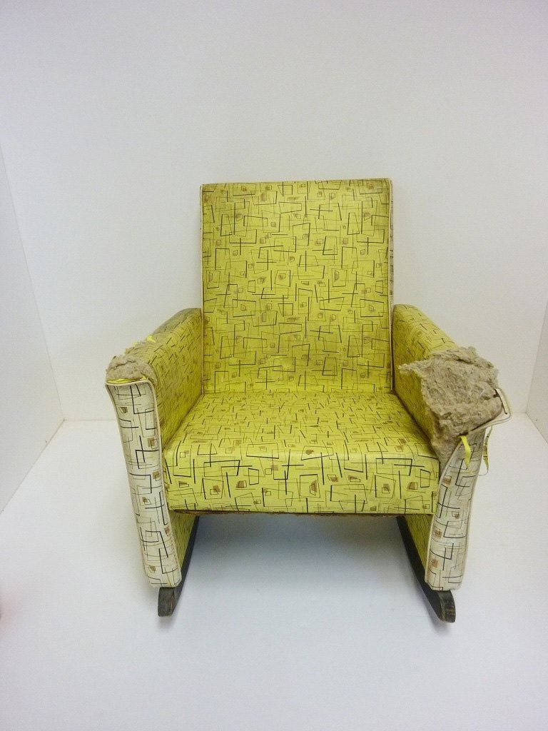 Fashionable Vintage Child Rocking Chair Vinyl Covering 1950S. $ (View 5 of 20)