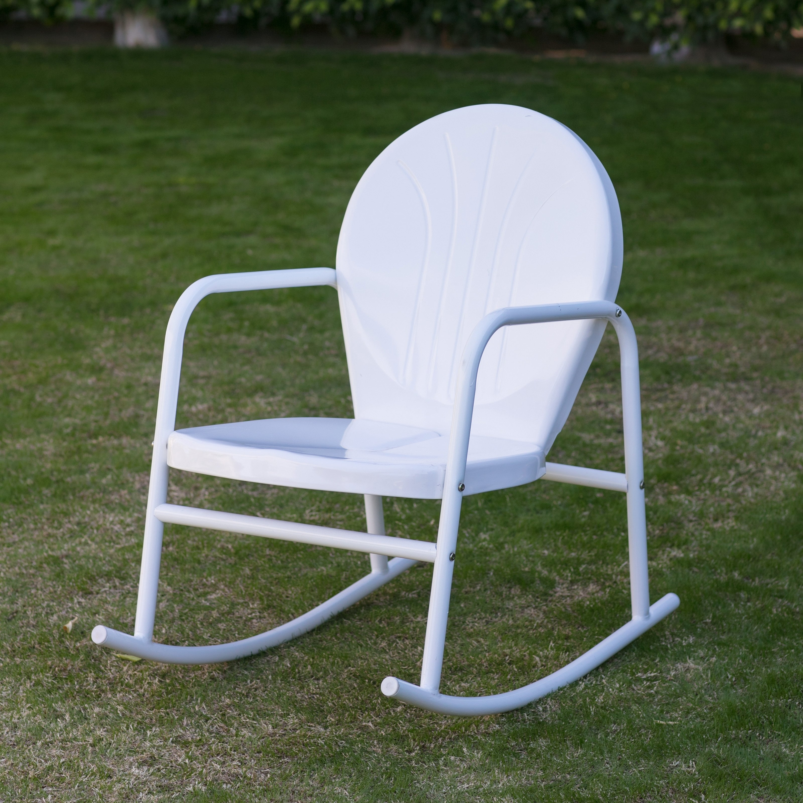 Fashionable Vintage Outdoor Rocking Chairs For Coral Coast Retro Vintage Steel Single Rocker – Walmart (View 2 of 20)