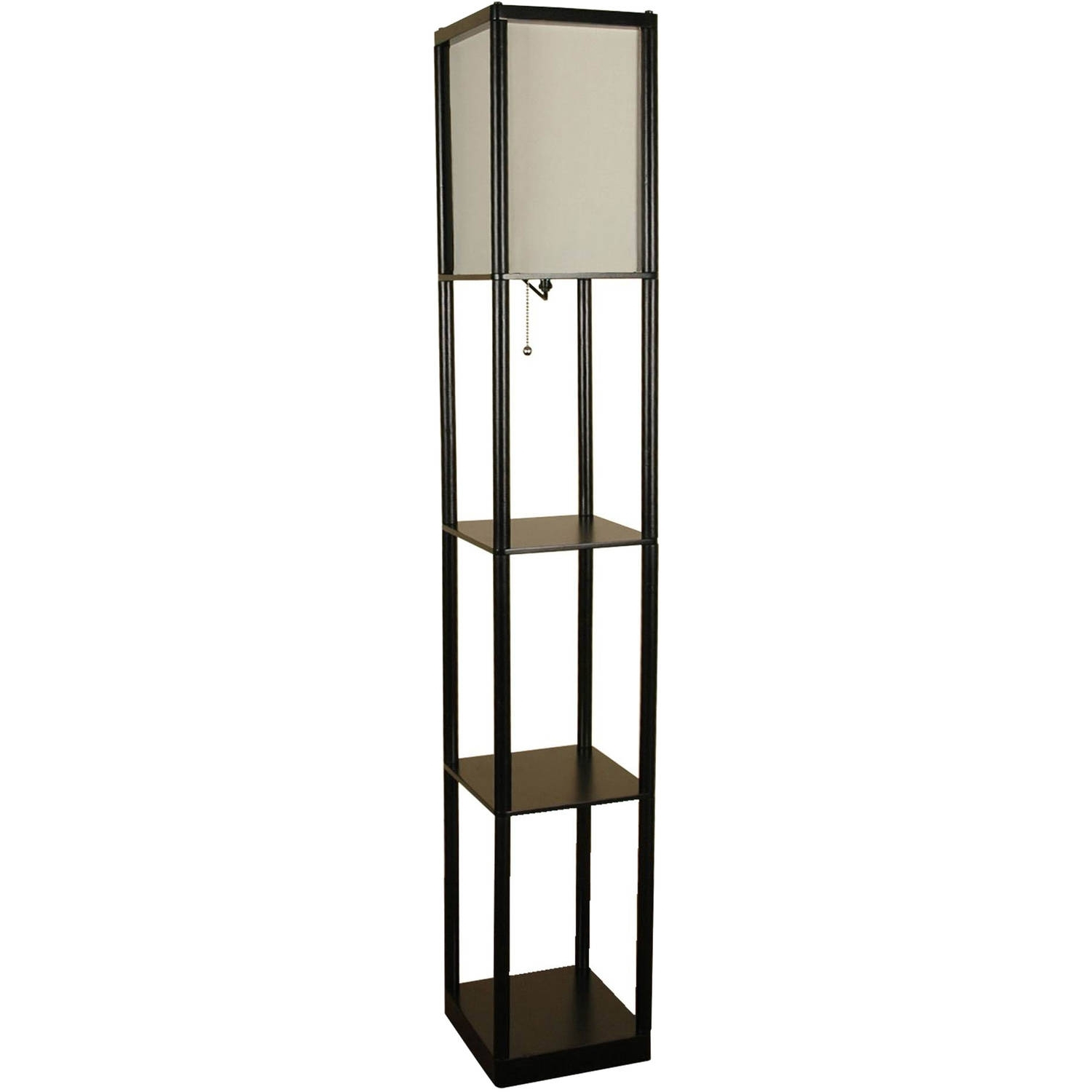 Fashionable Walmart Living Room Table Lamps For Mainstays Black Shelf Floor Lamp With White Shade On/off Cfl Bulb (View 5 of 20)