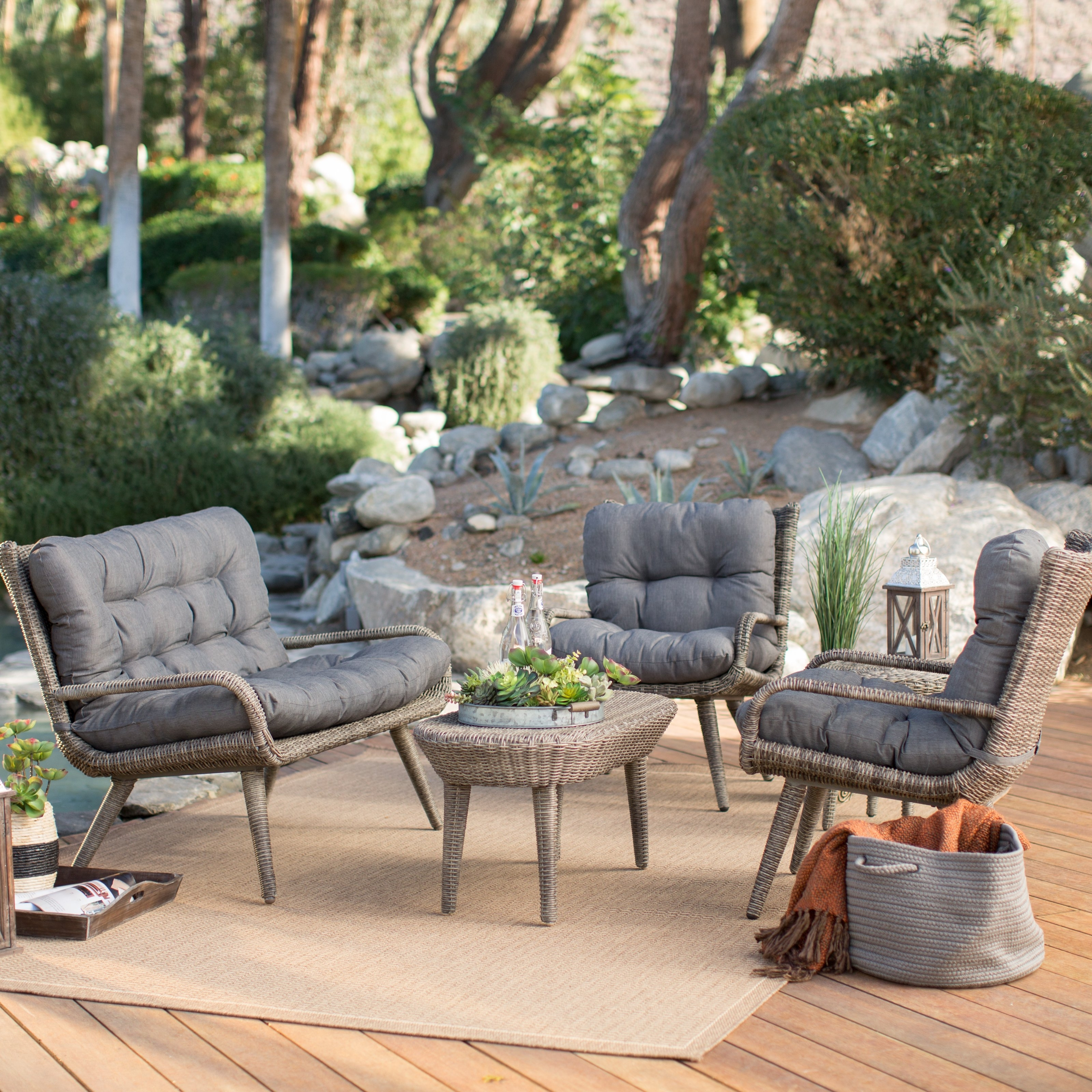 Fashionable Wood Patio Furniture Conversation Sets With Regard To Furniture: Exciting Outdoor Furniture With Gray Cushions On Beige (View 14 of 20)