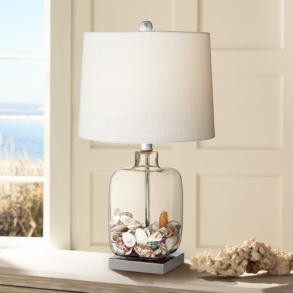 Favorite Clear Table Lamps For Living Room Intended For Square Glass Pics With Astounding Clear Table Lamp Bran Base Shades (View 7 of 20)