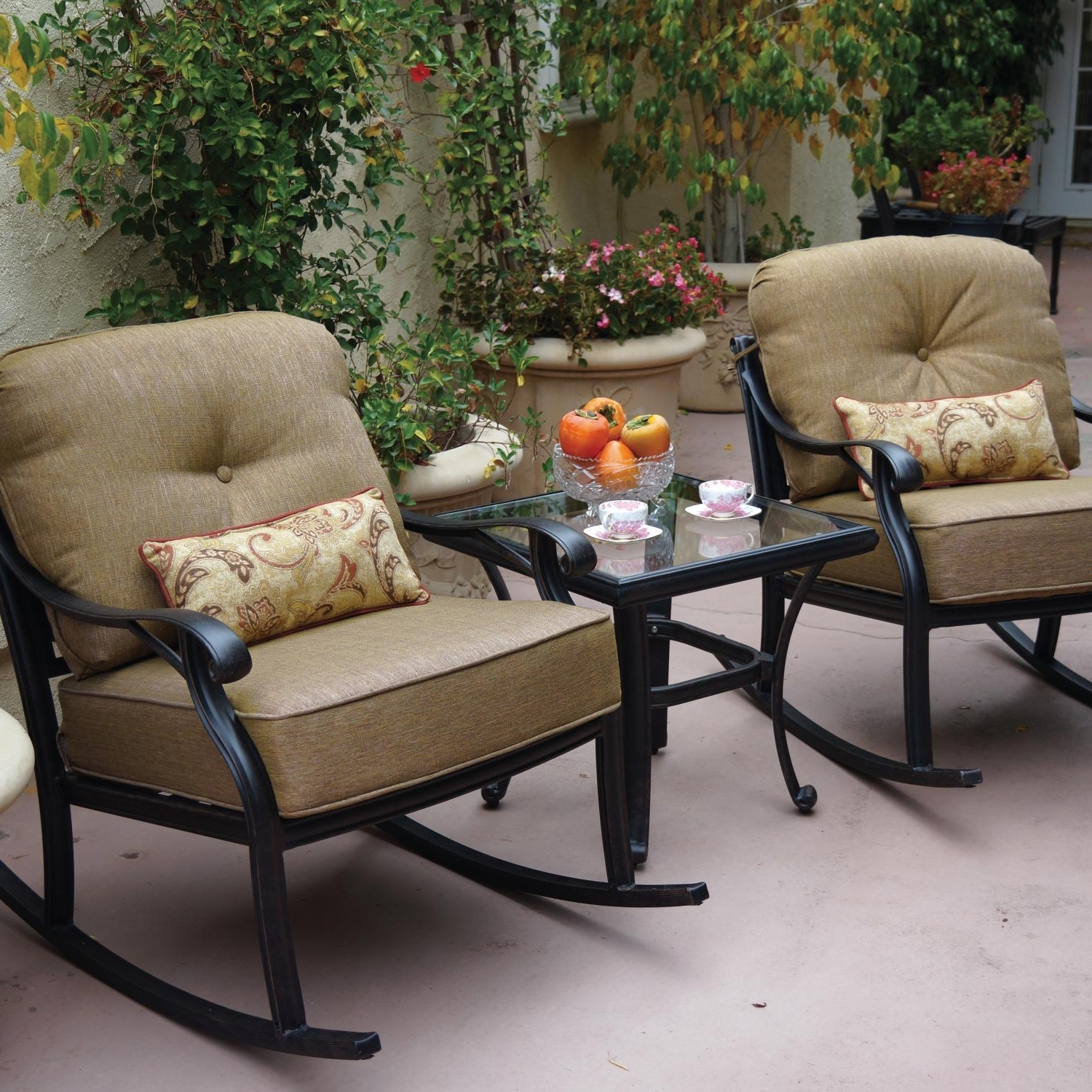 Favorite Darlee Nassau 3 Piece Cast Aluminum Patio Conversation Seating Set In Patio Rocking Chairs Sets (View 5 of 20)