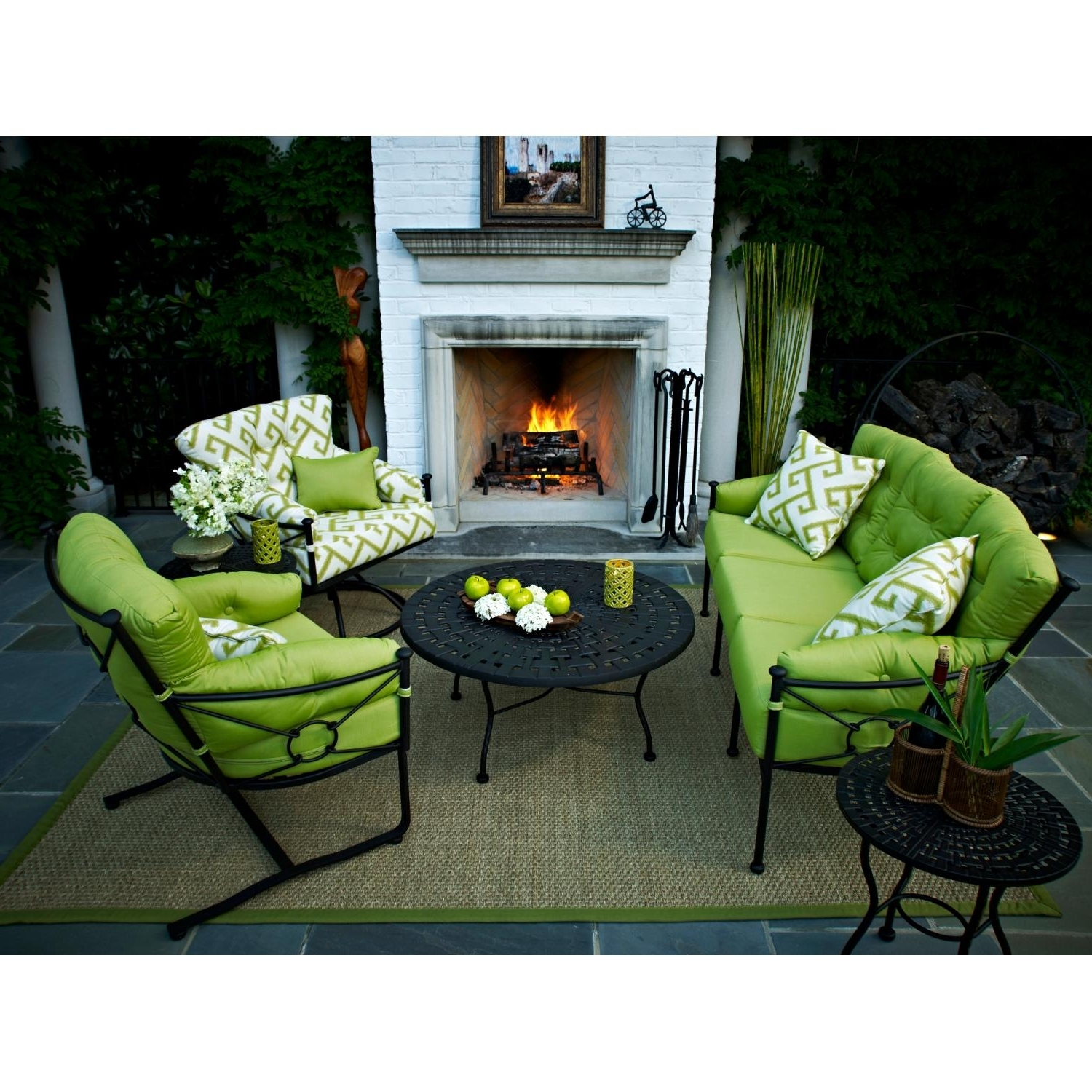 Favorite Deep Seating Patio Conversation Sets In Meadowcraft Grayson Wrought Iron 6 Piece Deep Seating Patio (View 13 of 20)
