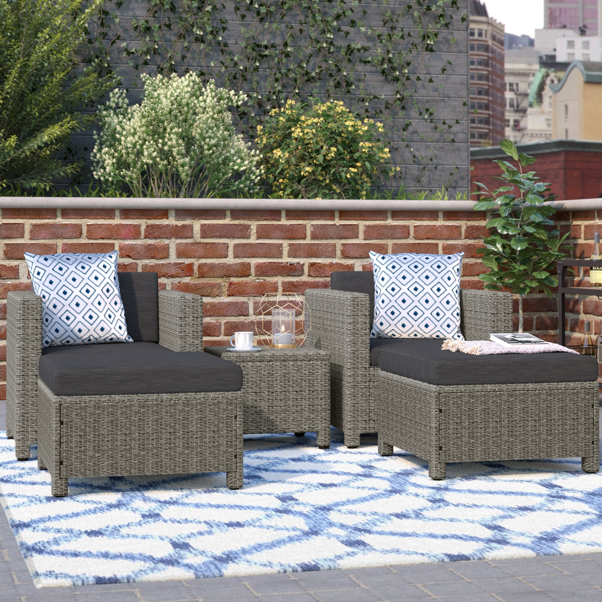 Favorite Delfino 5 Piece Conversation Set With Cushions Pertaining To Patio Conversation Sets With Cushions (View 13 of 20)