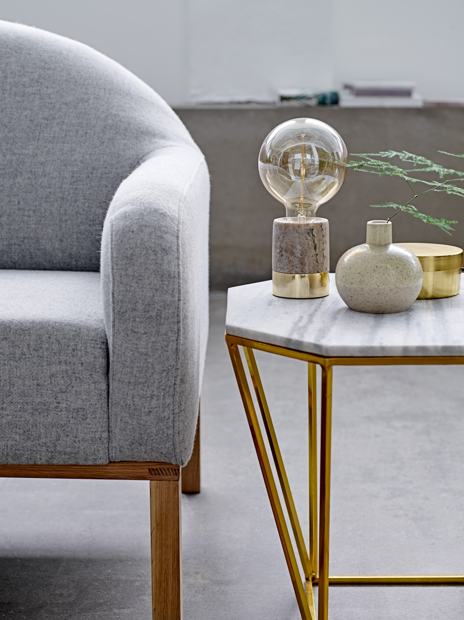 Favorite Gold Living Room Table Lamps In Table Lamp In Beige Marble And Gold From Bloomingville – Happy (View 6 of 20)