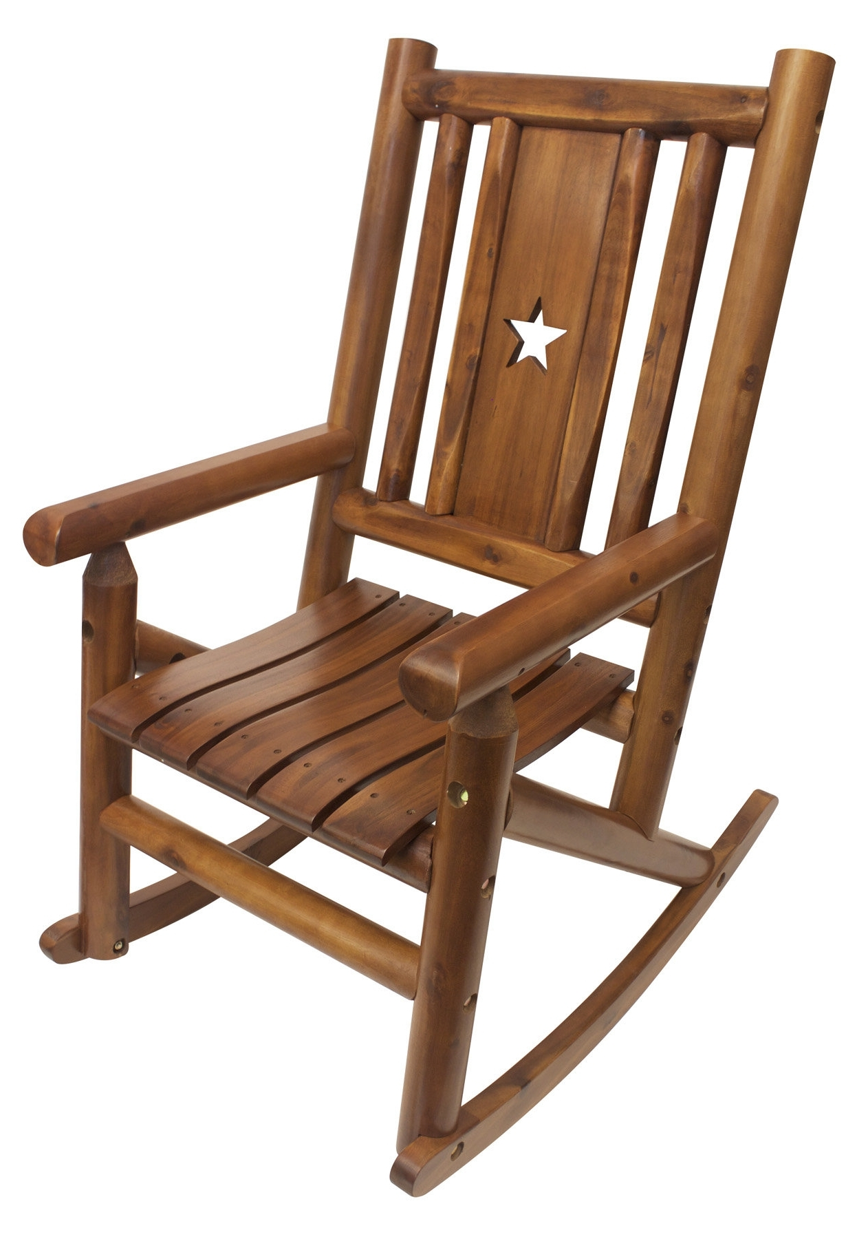 Favorite Leighcountry Amber Log Star Single Porch Rocking Chair (View 5 of 20)