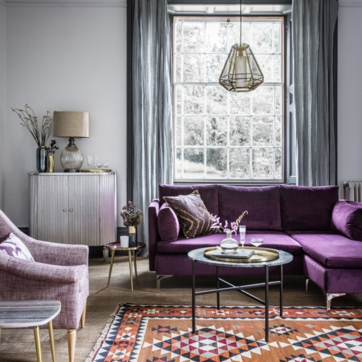 Favorite Living Room : Purple Velvet Sofa Round Marble Coffee Table Bohemian Throughout Purple Living Room Table Lamps (View 5 of 20)