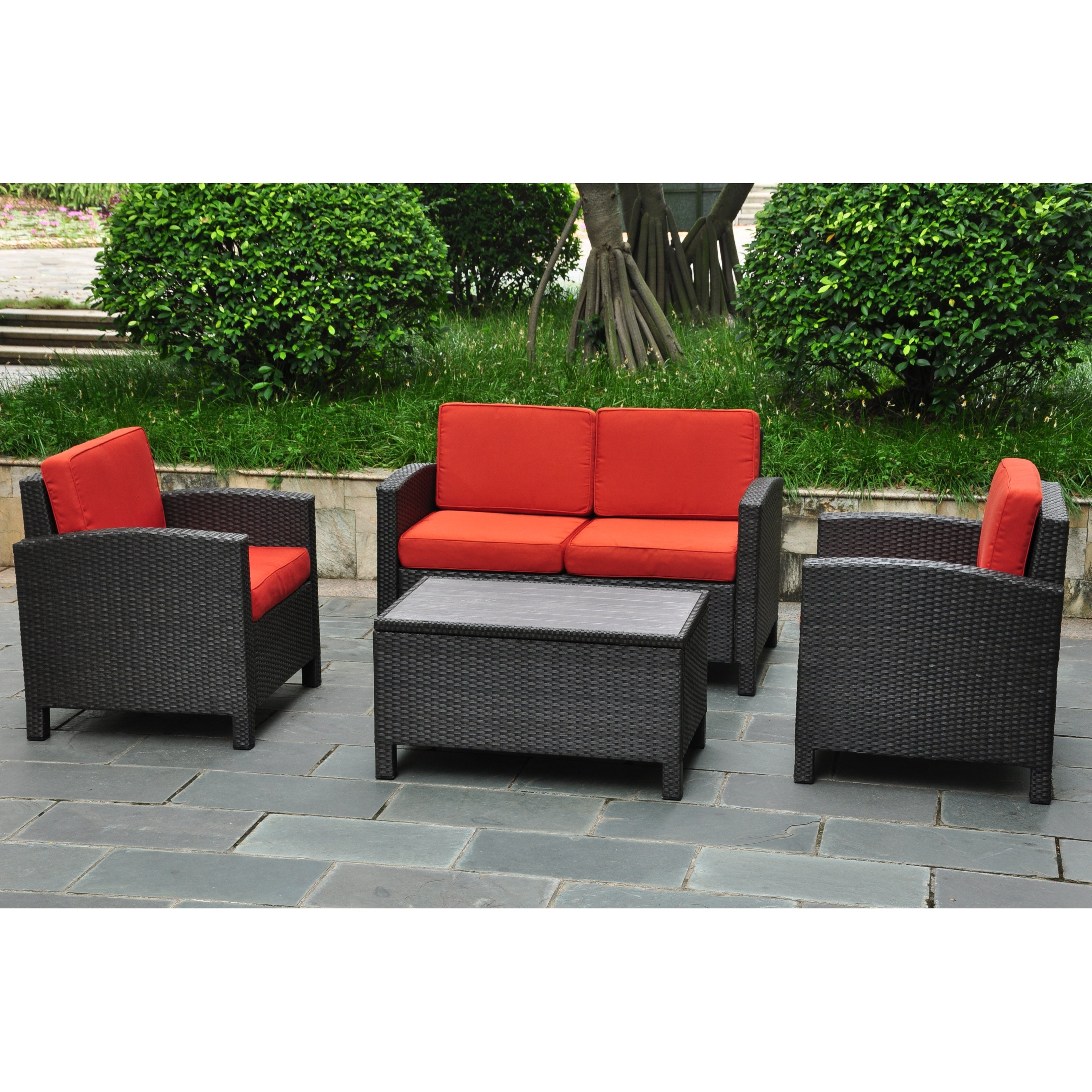 Favorite Patio Conversation Set With Storage Pertaining To International Caravan Barcelona Resin Wicker Outdoor Patio Set With (View 4 of 20)