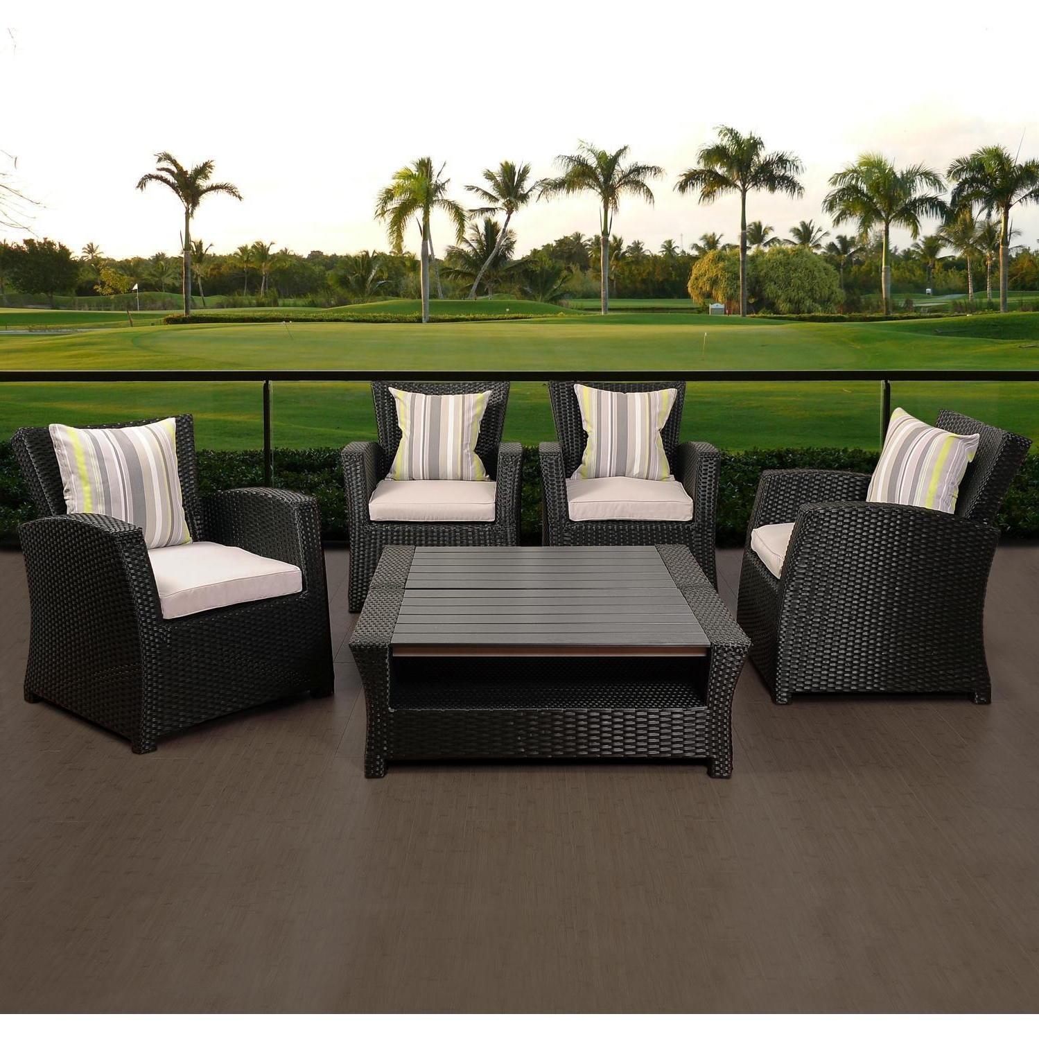 Favorite Patio Conversation Sets Without Cushions Inside Atlantic Staffordshire 4 Person Resin Wicker Patio Conversation Set (View 19 of 20)