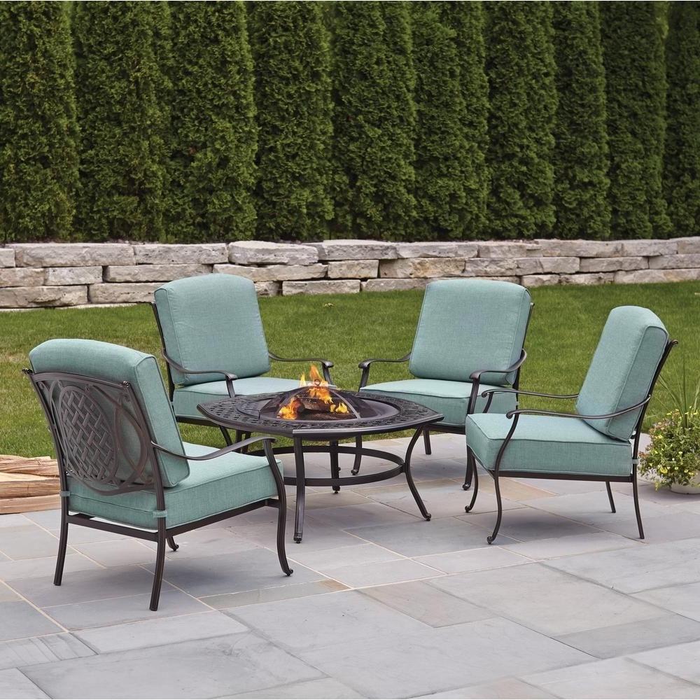 Favorite Patio Furniture Conversation Sets At Home Depot Regarding Hanover Traditions 4 Piece Aluminum Patio Fire Pit Conversation Set (View 18 of 20)