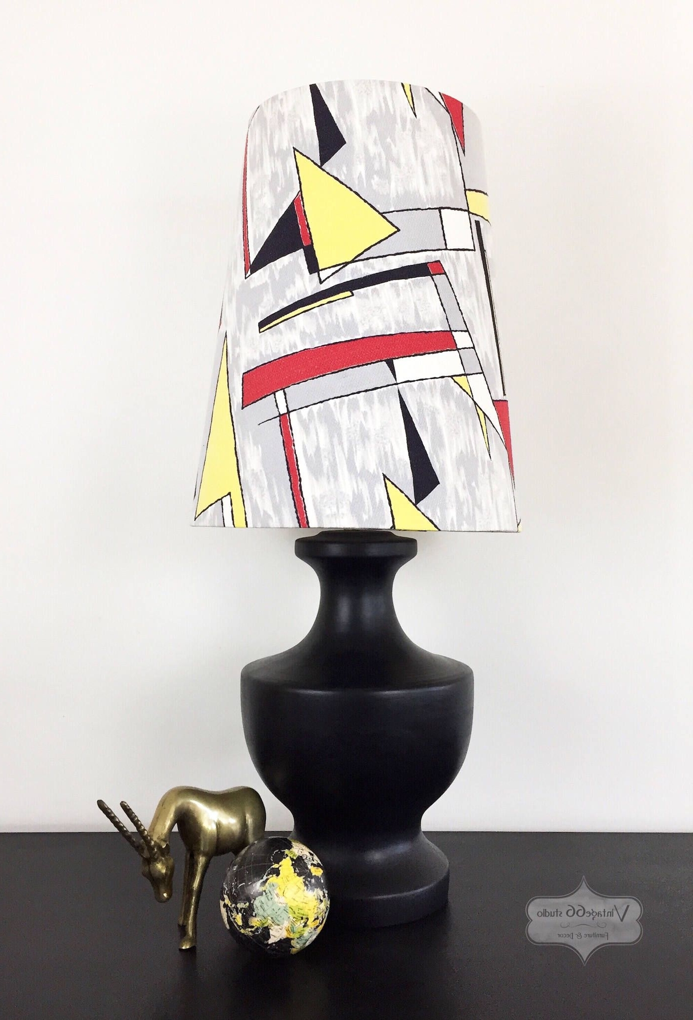 Favorite Red Living Room Table Lamps For Vintage Black Table Lamp With Atomic Barkcloth Shade, Retro, Mid (View 19 of 20)