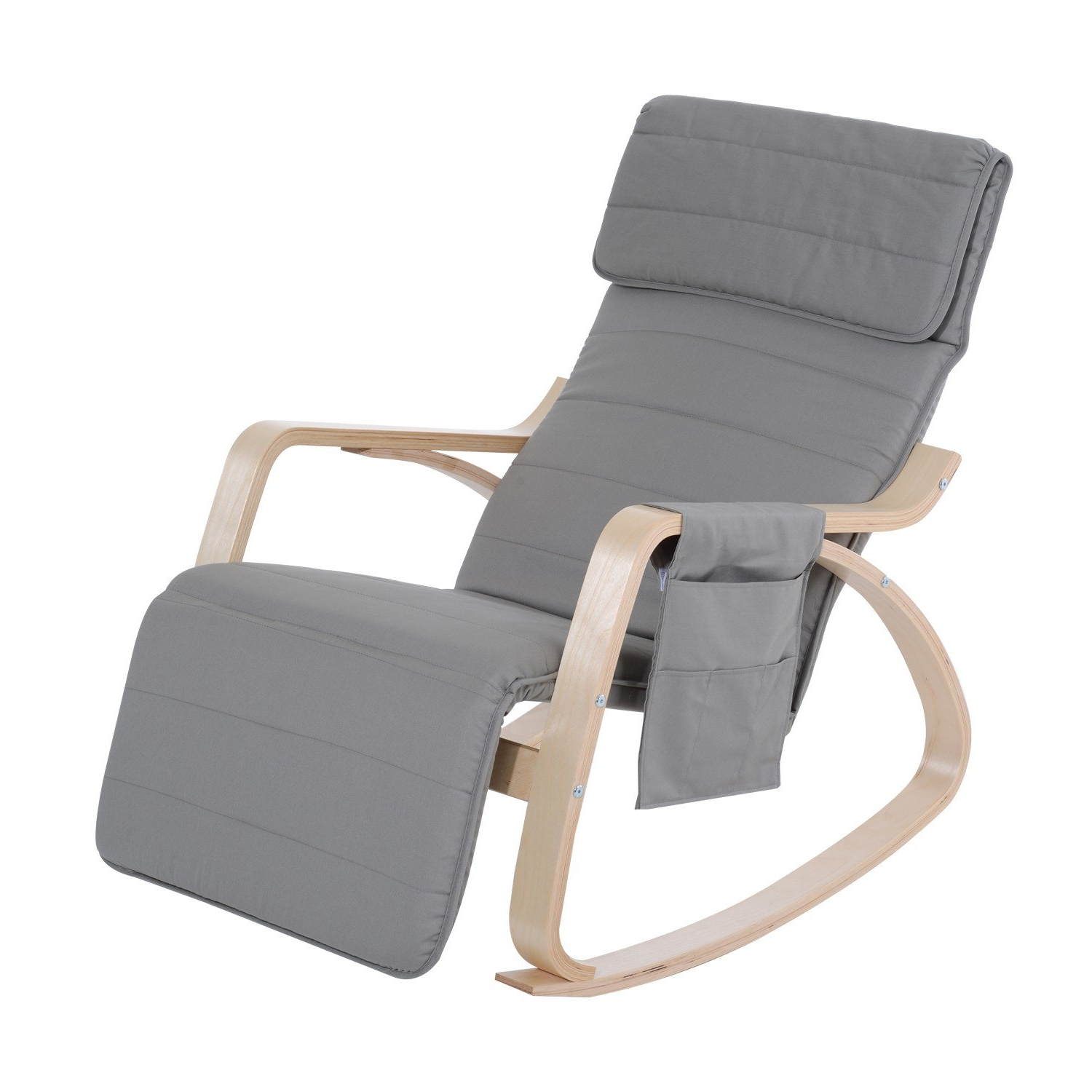 Favorite Rocking Chairs With Footrest For Homcom Rocking Chair W/adjustable Footrest & Side Pocket Grey (View 8 of 20)