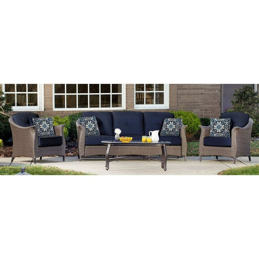 Favorite Shop Hanover Outdoor Furniture Gramercy 4 Piece Wicker Frame Patio For Wicker 4Pc Patio Conversation Sets With Navy Cushions (View 5 of 20)