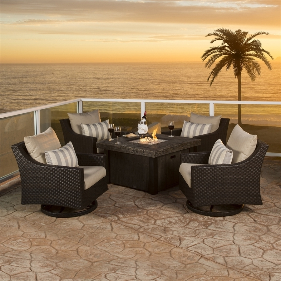 Favorite Shop Rst Brands Deco 5 Piece Resin Frame Patio Conversation Set With For Sunbrella Patio Conversation Sets (View 8 of 20)