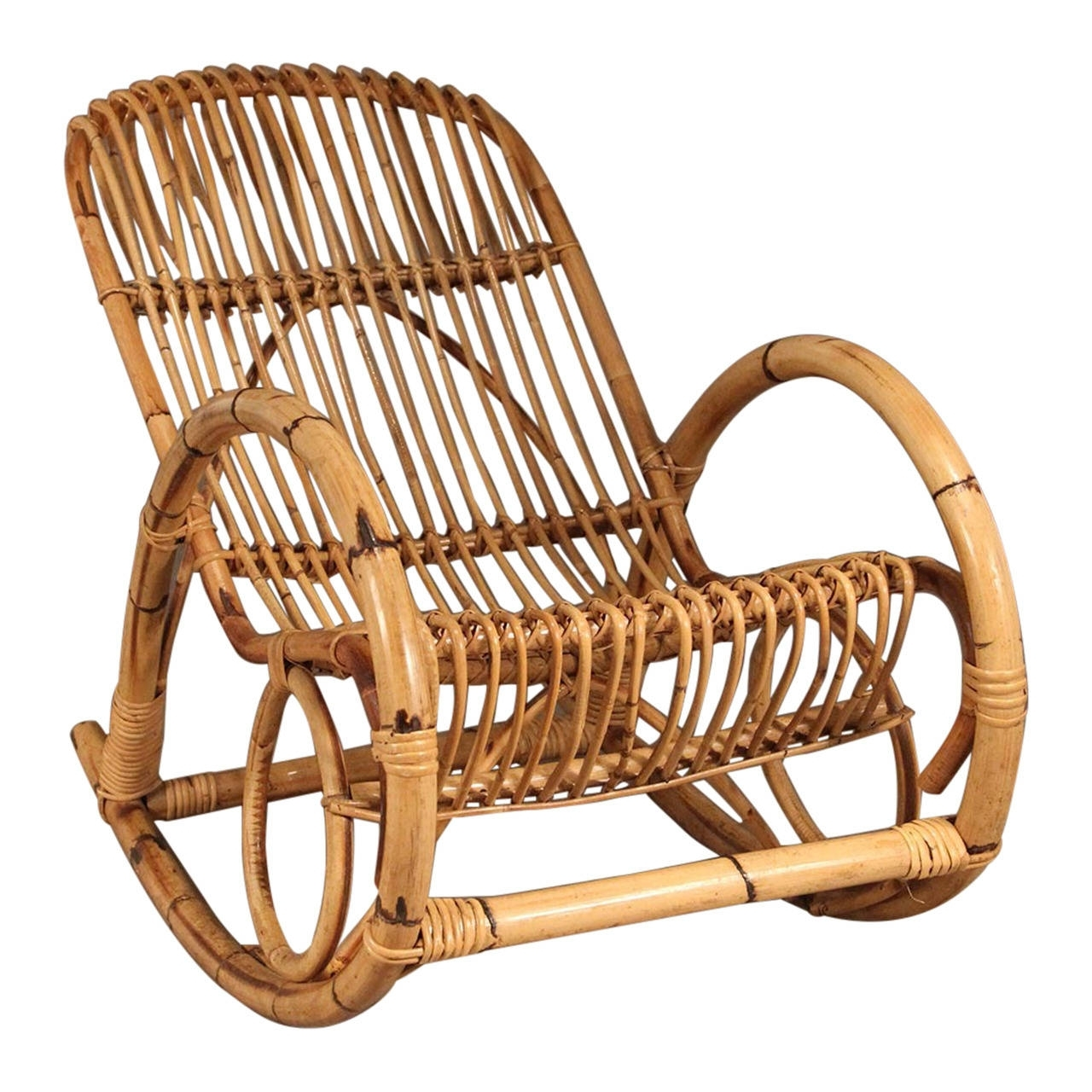 Favorite Wicker Rocking Chair With Magazine Holder Inside Franco Albini Style Mid Century Rattan Rocking Chair For Sale At 1Stdibs (View 11 of 20)
