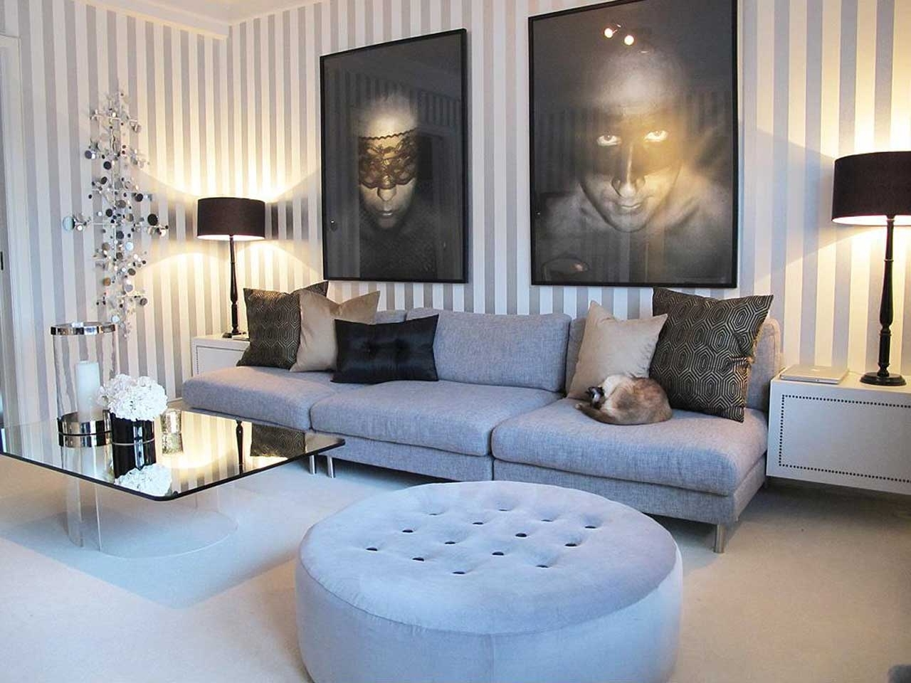 Funiture: Contemporary Living Room Furniture With Grey Sofa Made Of Throughout Best And Newest Living Room Coffee Table Lamps (View 10 of 20)