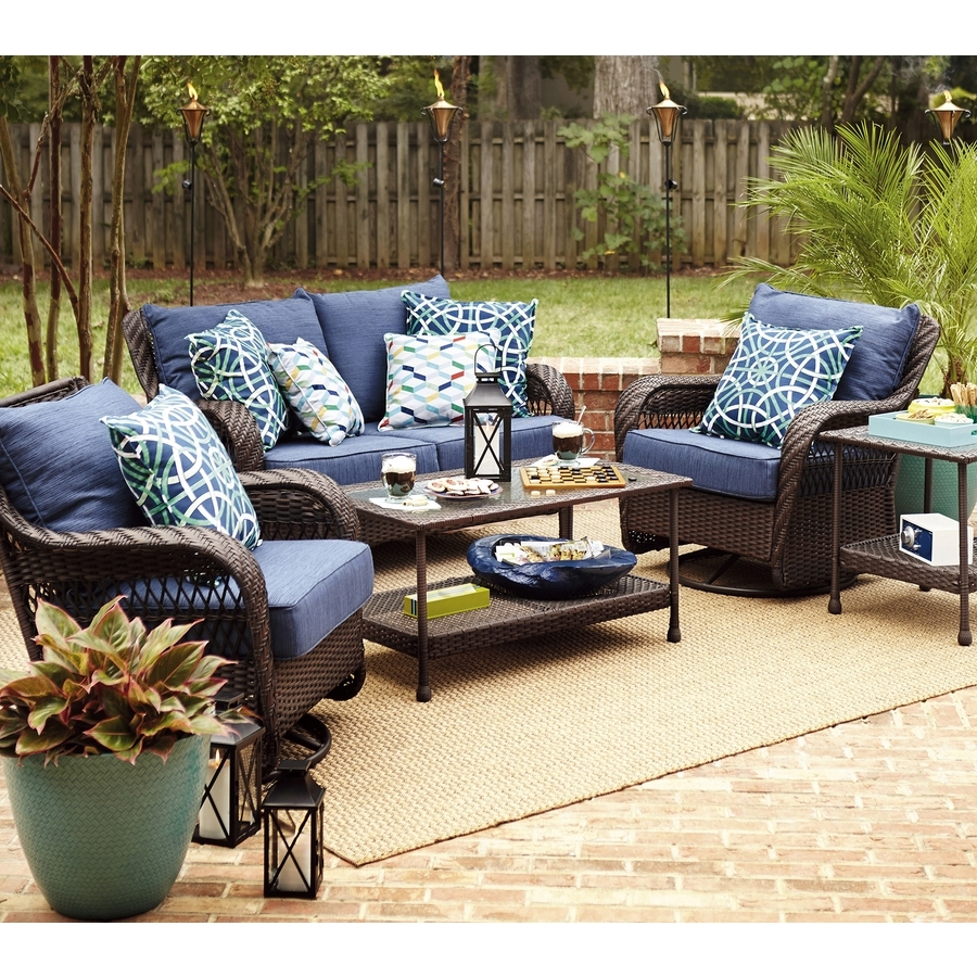 Furniture: Impressive Navy Blue Cushions Seat With Wicker Rattan In Famous Patio Conversation Sets With Blue Cushions (View 2 of 20)
