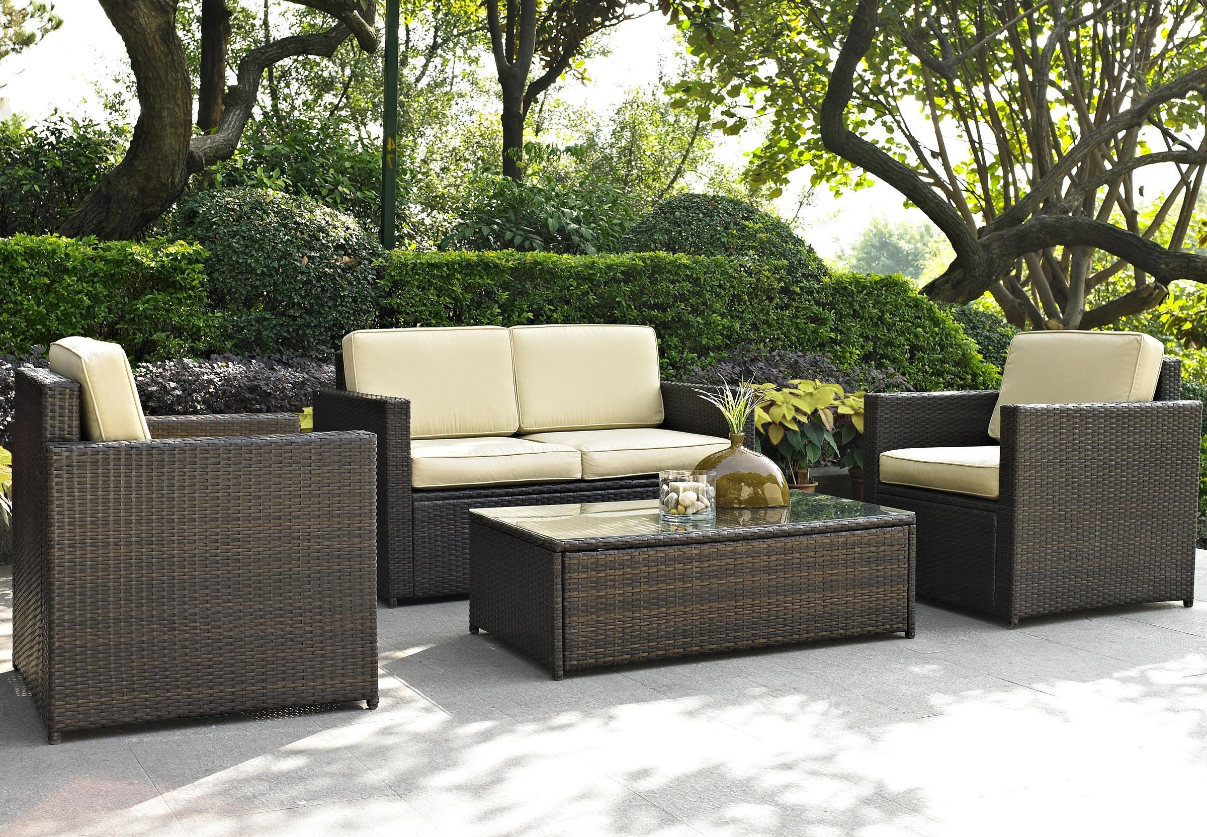 Furniture: Lovely Brown Wicker Chair Outdoor Furniture Design For Best And Newest Resin Wicker Patio Conversation Sets (View 7 of 20)