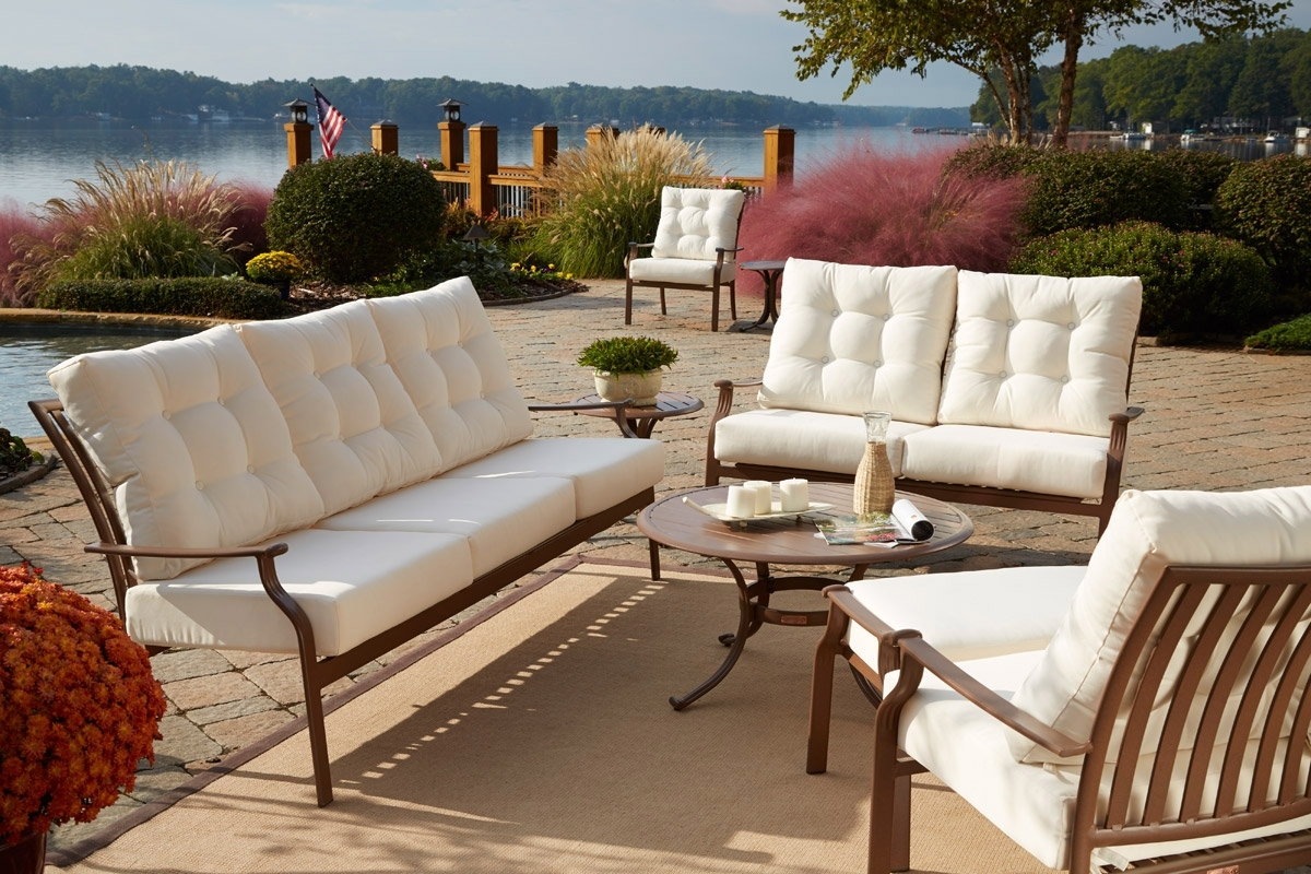 Furniture: Nice Black Wrought Iron Patio Furniture With White Inside Favorite Black Aluminum Patio Conversation Sets (View 9 of 20)