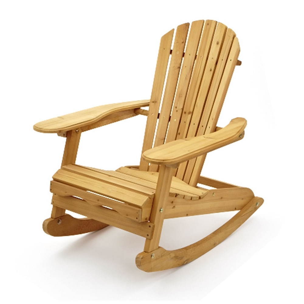 Garden Patio Wooden Adirondack Rocking Chair Pertaining To Most Current Rocking Chairs For Garden (View 3 of 20)