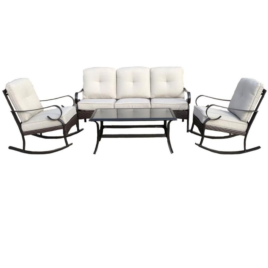 Garden Treasures Arbington 4 Piece Steel Patio Conversation Set Pertaining To Trendy Garden Treasures Patio Conversation Sets (View 8 of 20)