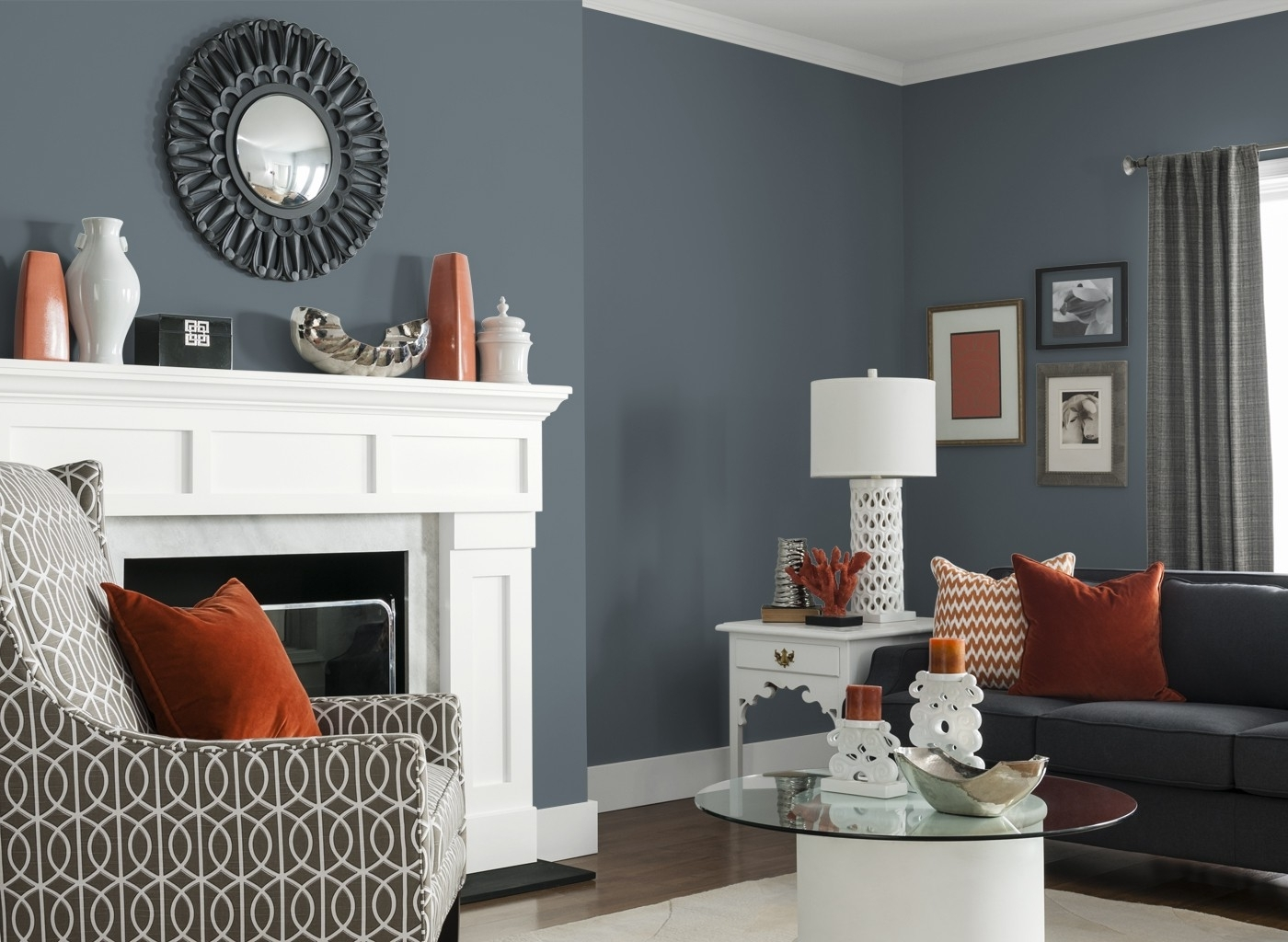 Gray Living Room Furniture Stone Fireplace Arched Door White Table Inside Most Recently Released White Living Room Table Lamps (View 6 of 20)