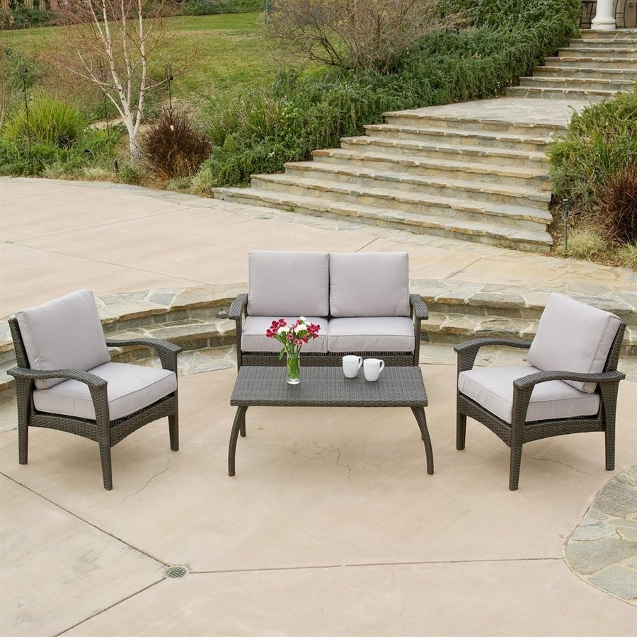 Grey Patio Conversation Sets For Widely Used Shop Best Selling Home Decor Honolulu 4 Piece Wicker Frame Patio (Gallery 8 of 20)