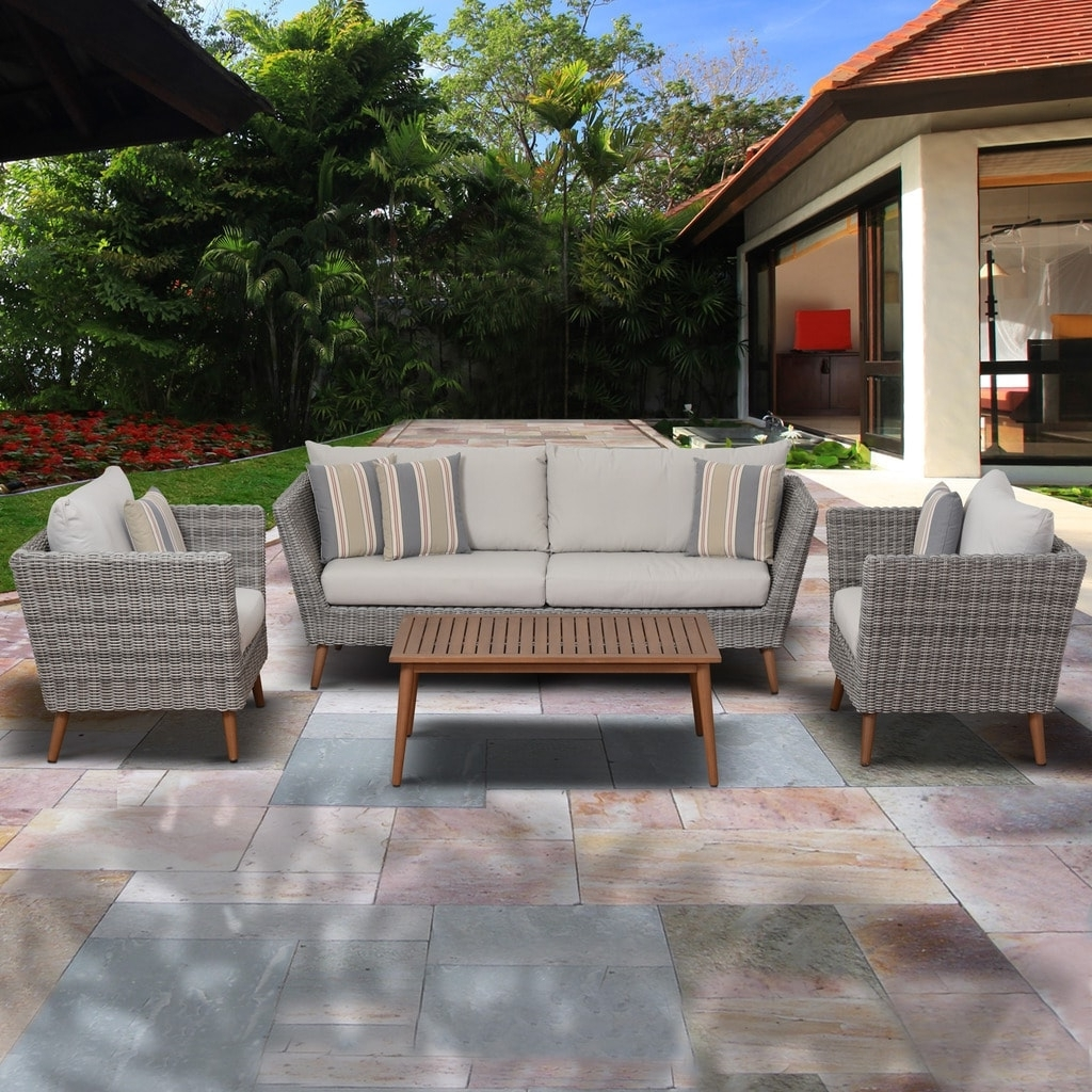 Grey Patio Conversation Sets In Well Known Shop Amazonia Malta 4 Piece Eucalyptus Light Grey Patio Conversation (View 7 of 20)