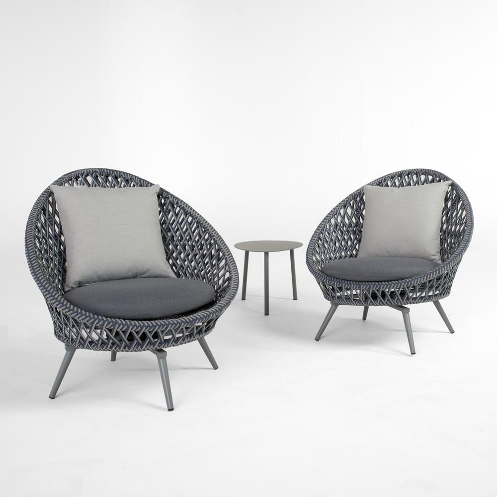 Grey Patio Conversation Sets Pertaining To Famous Rst Brands Bloom 3 Piece Patio Conversation Set With Grey Cushions (View 9 of 20)