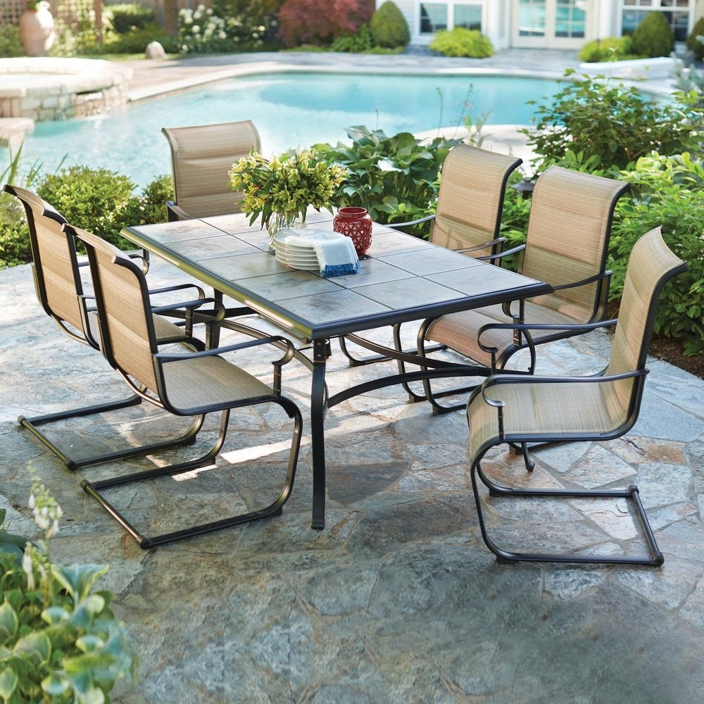 Hampton Bay Belleville 7 Piece Padded Sling Outdoor Dining Set Intended For Latest Patio Conversation Dining Sets (Gallery 5 of 20)