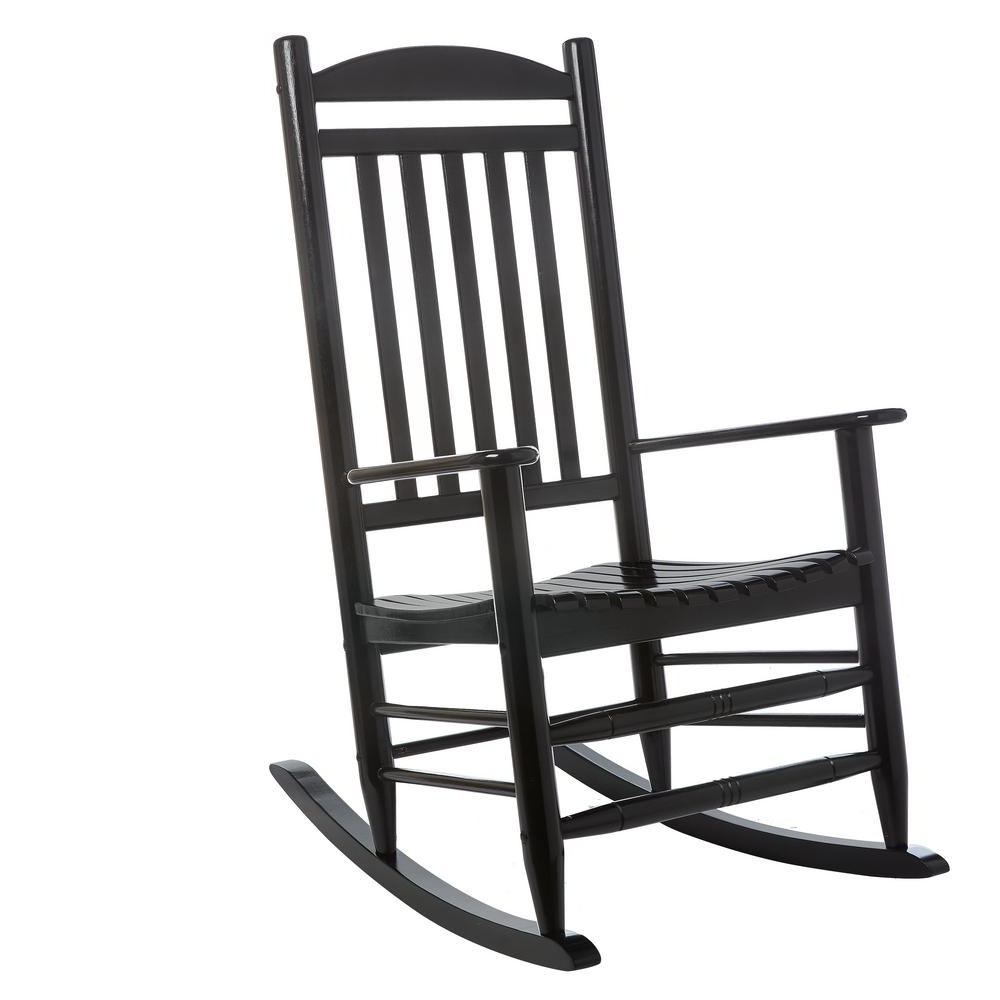 Hampton Bay Black Wood Outdoor Rocking Chair 2. (View 8 of 20)