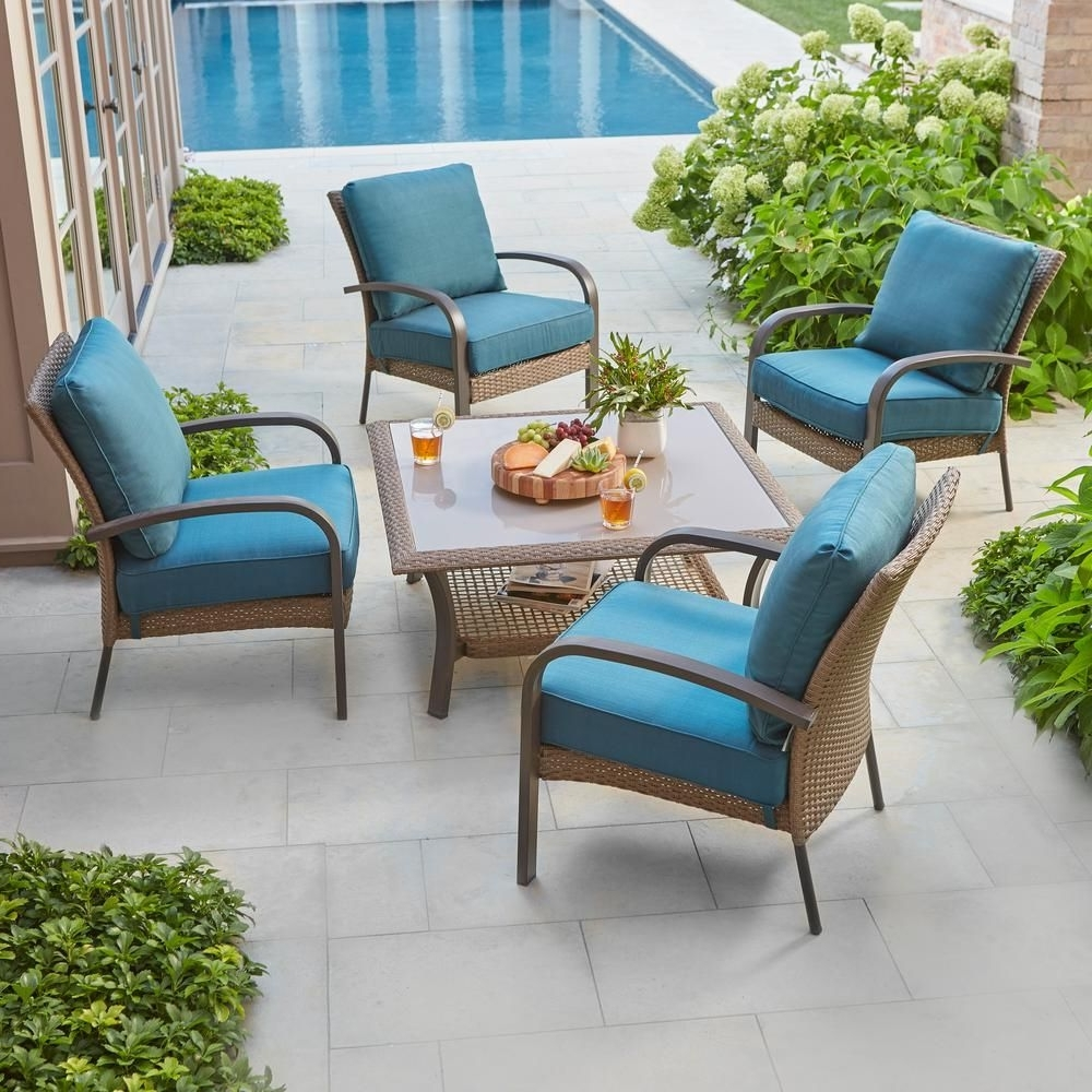 Hampton Bay Corranade 5 Piece Wicker Patio Conversation Set With Pertaining To Popular Patio Conversation Sets At Home Depot (View 5 of 20)