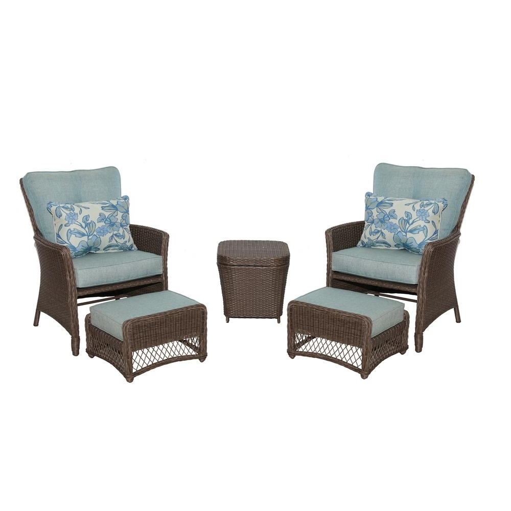 Hampton Bay Fallsview 5 Piece Wicker Conversation Set With Teal Intended For Fashionable 5 Piece Patio Conversation Sets (View 10 of 20)