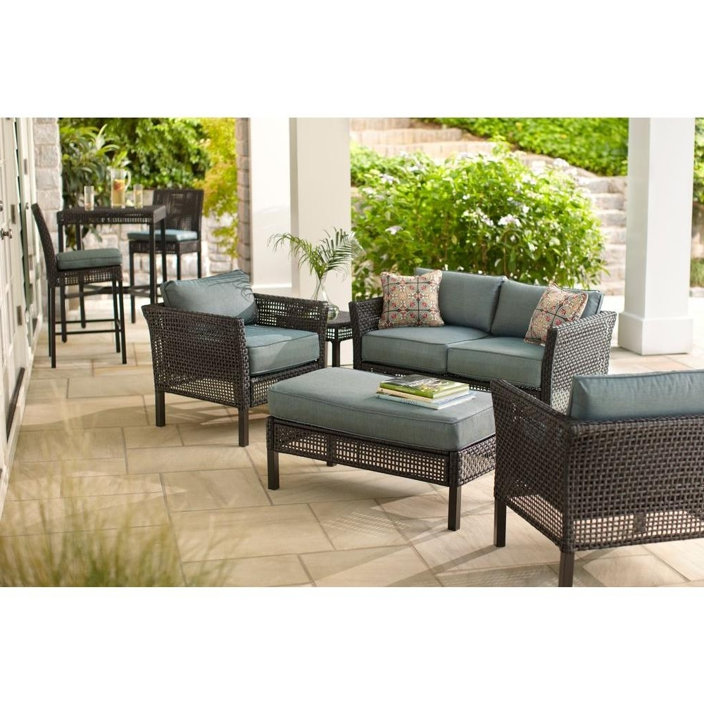 Hampton Bay Fenton 4 Piece Wicker Outdoor Patio Seating Set With With Well Liked Patio Furniture Conversation Sets At Home Depot (View 3 of 20)