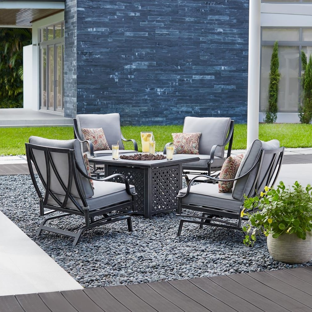 Hampton Bay Highland Point 5 Piece Aluminum And Steel Patio Fire Pit Pertaining To Latest Patio Conversation Sets With Fire Pit Table (View 4 of 20)