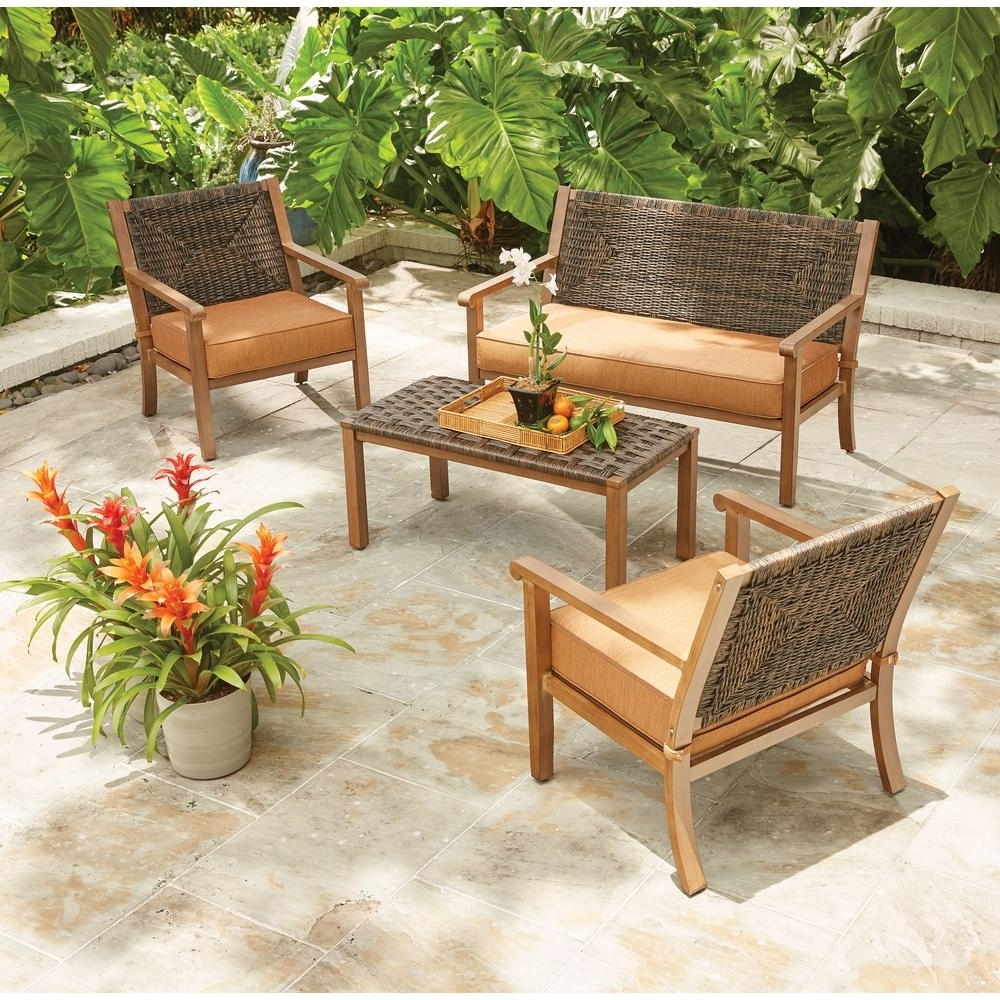 Hampton Bay Kapolei 4 Piece Wicker Patio Conversation Set With Pertaining To Latest Wood Patio Furniture Conversation Sets (View 7 of 20)