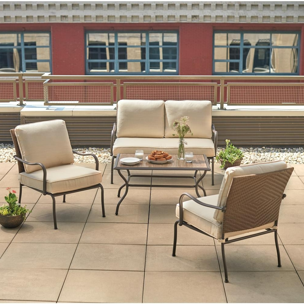 Hampton Bay Pin Oak 4 Piece Wicker Outdoor Patio Conversation Set With  Oatmeal Cushions With Popular Patio Conversation Sets With Cushions (Gallery 3 of 20)