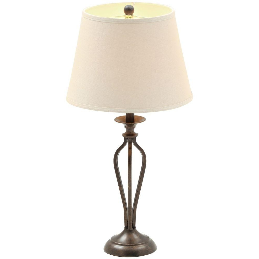 Hampton Bay Rhodes 28 In. Bronze Table Lamp With Natural Linen Shade Within Most Up To Date Bronze Living Room Table Lamps (Gallery 8 of 20)
