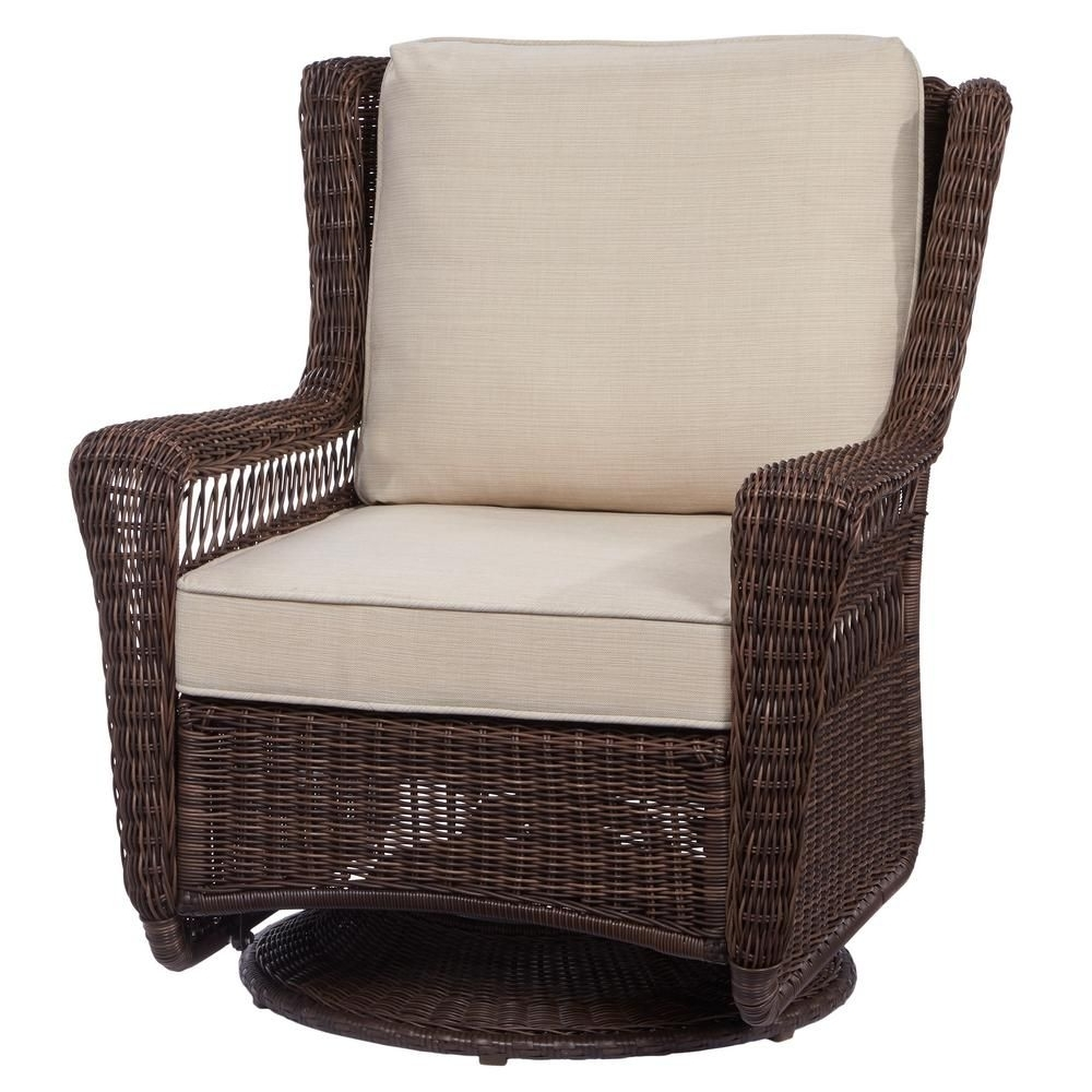 Hampton Bay Rocking Patio Chairs Intended For Best And Newest Hampton Bay Park Meadows Brown Swivel Rocking Wicker Outdoor Lounge (View 5 of 20)
