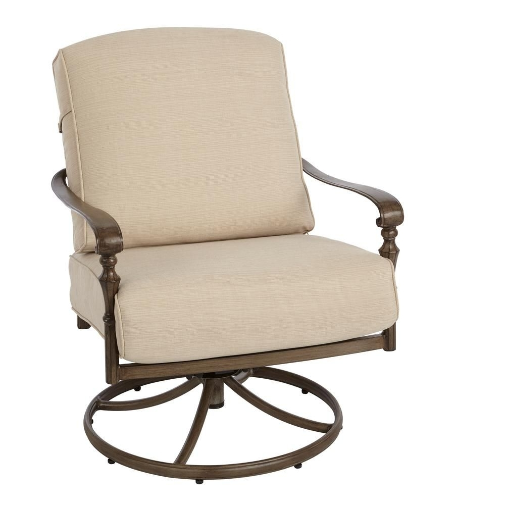 Hampton Bay Rocking Patio Chairs Pertaining To Most Recently Released Hampton Bay Cavasso Swivel Rocking Metal Outdoor Lounge Chair With (View 6 of 20)